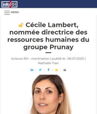 Cécile Lambert, nommée directrice des ressources humaines du groupe Prunay